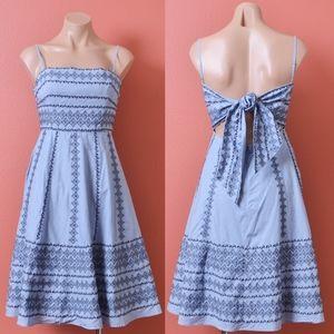 BCBG Strap Embroidered Blue Back Tie Dress